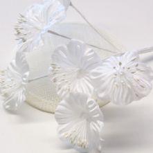 Vintage Snow White Satin Blossoms x6